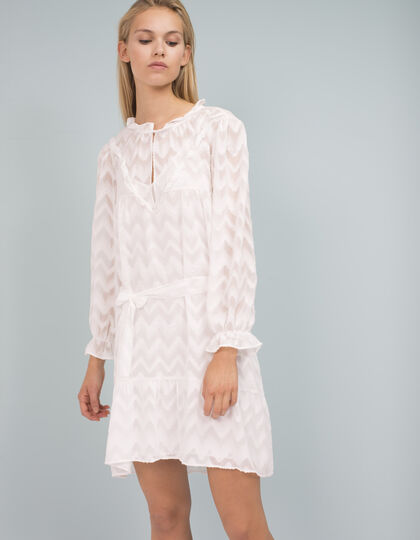 Ruffled geometric jacquard voile dress - IKKS Women